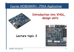 Course AE0B38APH - FPGA Application