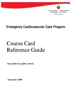Course Card Reference Guide
