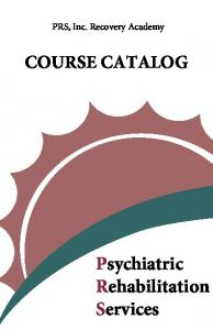 COURSE CATALOG Psychiatric Rehabilitation Services