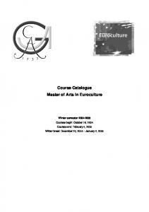 Course Catalogue Master of Arts in Euroculture