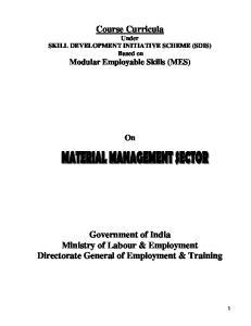 Course Curricula Under SKILL DEVELOPMENT INITIATIVE SCHEME (SDIS) Based on Modular Employable Skills (MES)