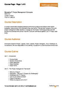 Course Description. Course Audience. Course Outline. Course Page - Page 1 of 6
