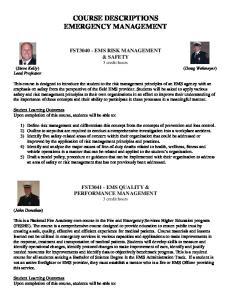 COURSE DESCRIPTIONS EMERGENCY MANAGEMENT