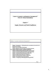 Course Economics and Business Management Prof. Dr. Marius Dannenberg. Chapter 4 Supply, Demand, and Market Equilibrium