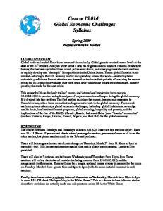 Course Global Economic Challenges Syllabus