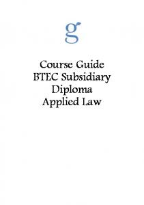 Course Guide BTEC Subsidiary Diploma Applied Law