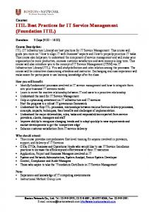 Course: ITIL Best Practices for IT Service Management (Foundation ITIL)