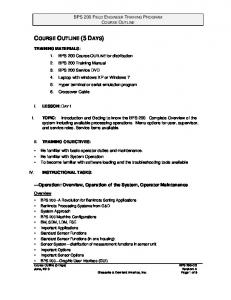 COURSE OUTLINE (5 DAYS)