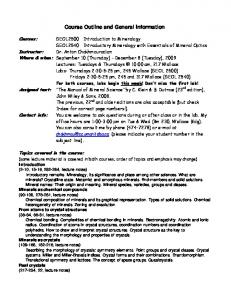 Course Outline and General Information