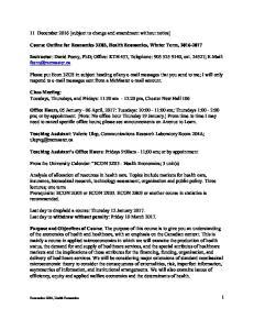Course Outline for Economics 3Z03, Health Economics, Winter Term,