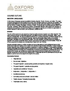 COURSE OUTLINE MODERN LANGUAGES