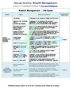 Course Outline: Wealth Management