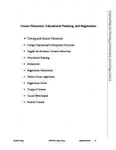 Course Placement, Educational Planning, and Registration