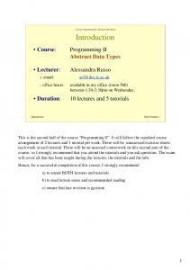 Course: Programming II - Abstract Data Types. Introduction. Abstract Data Types
