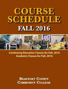 Course Schedule Fall 2016