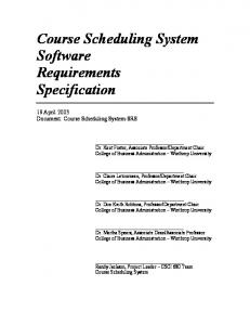 Course Scheduling System Software Requirements Specification