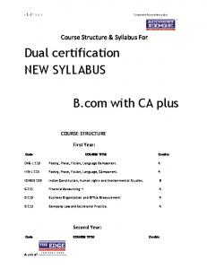 Course Structure & Syllabus For COURSE STRUCTURE. Code COURSE TITLE Credits. ENG-L 112 Poetry, Prose, Fiction, Language Component