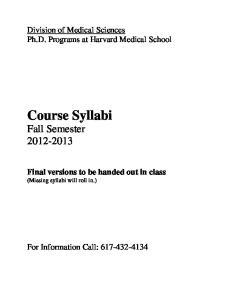 Course Syllabi Fall Semester
