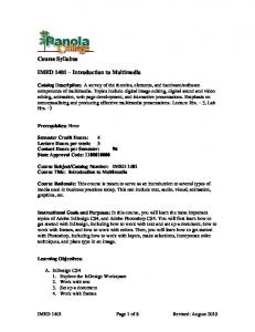 Course Syllabus. IMED 1401 Introduction to Multimedia