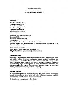 COURSE SYLLABUS LABOR ECONOMICS