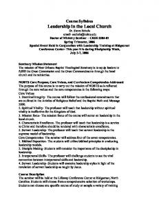Course Syllabus Leadership in the Local Church