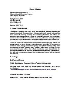 Course Syllabus. Monetary Economics ( ) Masters in Applied Economics Program Johns Hopkins University