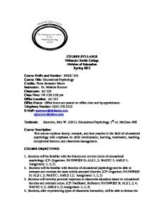 COURSE SYLLABUS Philander Smith College Division of Education Spring 2012