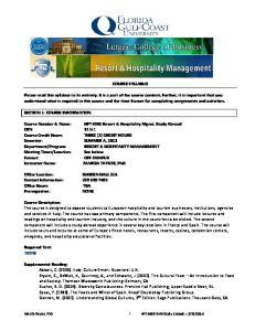 COURSE SYLLABUS SECTION 1: COURSE INFORMATION