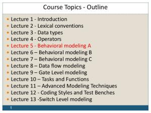 Course Topics - Outline