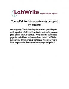 CoursePak for lab experiments designed by students