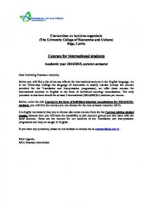 Courses for international students
