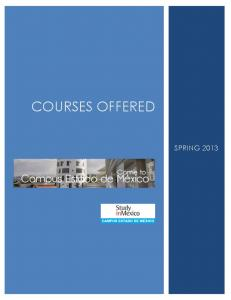 COURSES OFFERED SPRING 2013