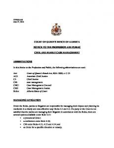 COURT OF QUEEN S BENCH OF ALBERTA NOTICE TO THE PROFESSION AND PUBLIC CIVIL AND FAMILY CASE MANAGEMENT