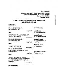 COURT OF QUEEN S BENCH OF MANITOBA (GENERAL DIVISION)