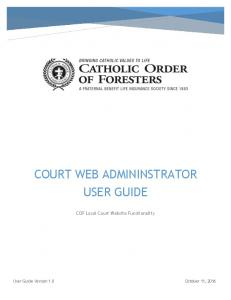 COURT WEB ADMININSTRATOR USER GUIDE. COF Local Court Website Functionality