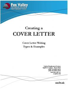 COVER LETTER. Creating a. Cover Letter Writing Types & Examples