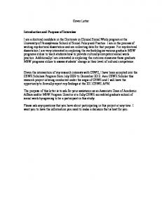 Cover Letter. Introduction and Purpose of Interview
