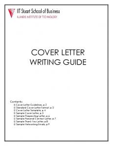 COVER LETTER WRITING GUIDE. Contents: