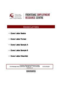 COVER LETTERS. Cover Letter Basics. Cover Letter Format. Cover Letter Sample A. Cover Letter Sample B. Cover Letter Checklist