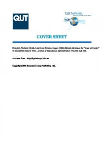 COVER SHEET. Accessed from  Copyright 2006 Emerald Group Publishing Ltd