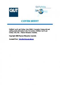 COVER SHEET. Copyright 2006 Pearson Education Australia. Accessed from