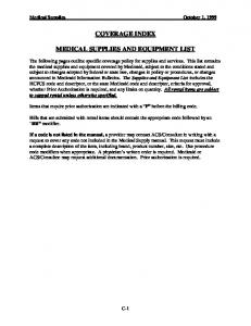 COVERAGE INDEX MEDICAL SUPPLIES AND EQUIPMENT LIST