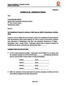 COVERING LETTER ON BIDDER S LETTERHEAD. Sub: Qualification Proposal for Selection of Mine Operator (MO) for Manoharpur Coal Mine, OPGC