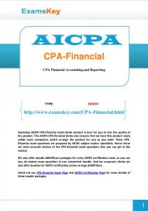 CPA-Financial. CPA Financial Accounting and Reporting