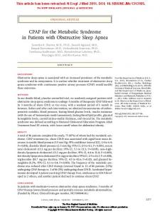 CPAP for the Metabolic Syndrome in Patients with Obstructive Sleep Apnea