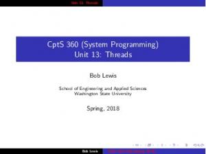 CptS 360 (System Programming) Unit 13: Threads