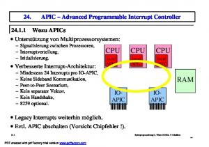 CPU CPU CPU RAM. 24. APIC Advanced Programmable Interrupt Controller