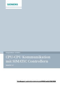 CPU-CPU Kommunikation mit SIMATIC Controllern