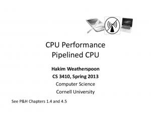 CPU Performance Pipelined CPU