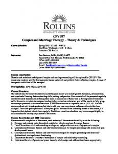 CPY 557 Couples and Marriage Therapy Theory & Techniques